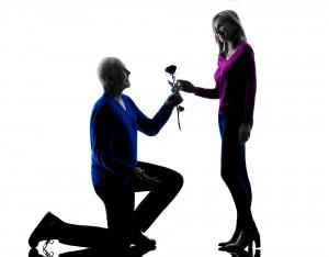 couple senior love seduction proposal silhouette