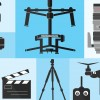 Footage Photography Equipment Shoot Set Pro Camera Cinema Lens Technology Vector Illustration