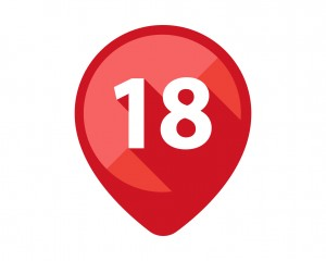 Flat Icons with long shadow. Red pin calendar number 18